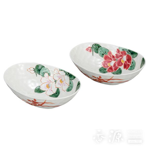 九谷焼 6号 ペア鉢 紅白椿