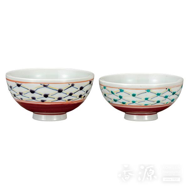 九谷焼 組飯碗 格子文