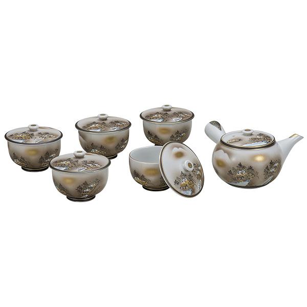 九谷焼 蓋付茶器 墨山水