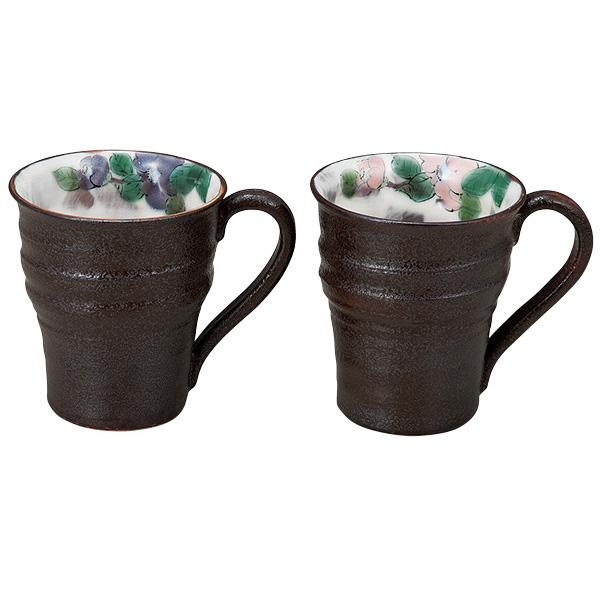 九谷焼 ペアマグカップ 椿  [青良窯]