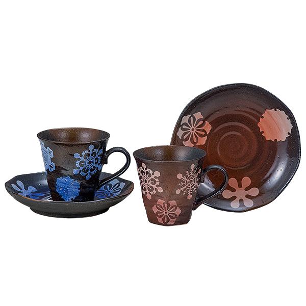 九谷焼 ペアコーヒー 雪輪文様