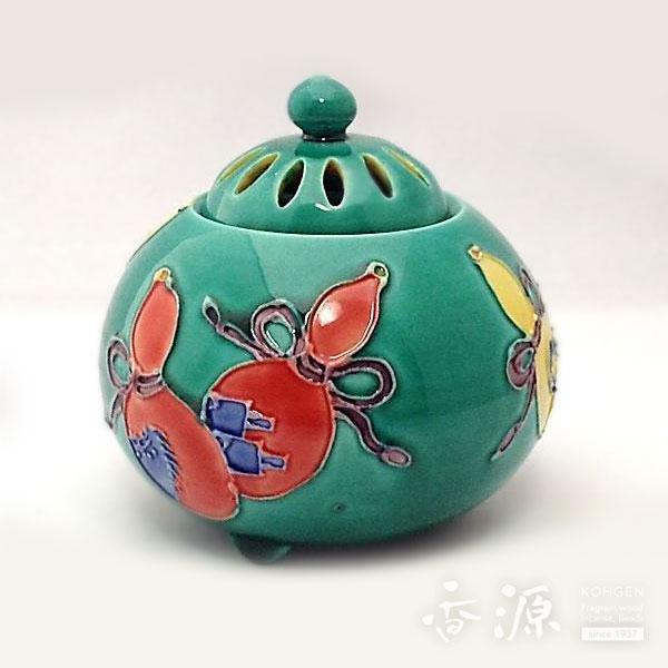 京焼 香炉 青交趾(こうち)六瓢