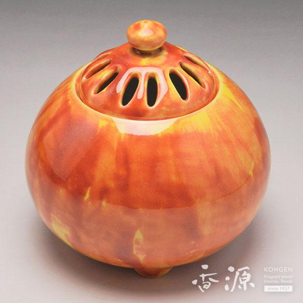 京焼 香炉 釉彩紅