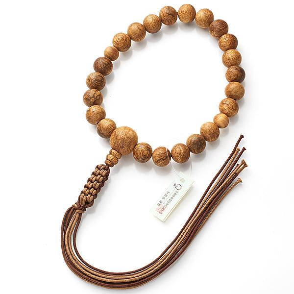 男性用お数珠 インドネシア産 沈香 22玉 共仕立て 紐房