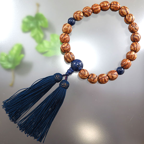 男性用お数珠 縞星月菩提樹 20玉 ソーダライト仕立て 鉄紺房