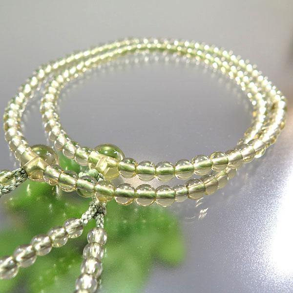 女性用お数珠 レモンクォーツ 5mm玉 共仕立て 八宗兼用