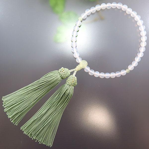 女性用お数珠 白瑪瑙 7mm玉 サーペンティン仕立て 青磁房