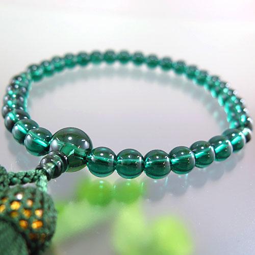 女性用数珠 グリーンクォーツ 8mm玉 共仕立て 限定品
