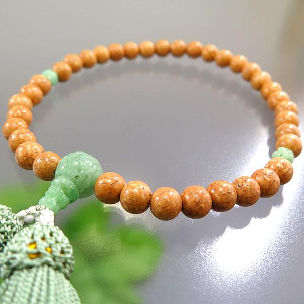 女性用お数珠 天竺菩提樹 7mm玉 ビルマ翡翠 華彫仕立て