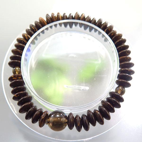 椰子(ヤシ) 平玉 ブレス 茶水晶仕立て