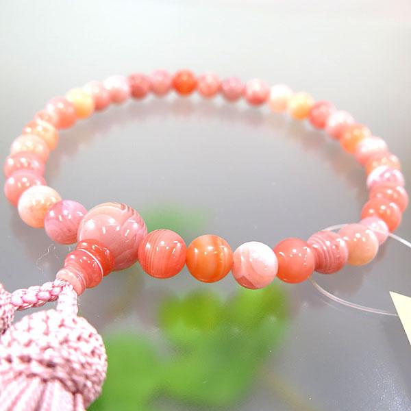 女性用お数珠 桃縞瑪瑙 8mm玉 共仕立て 灰桜房