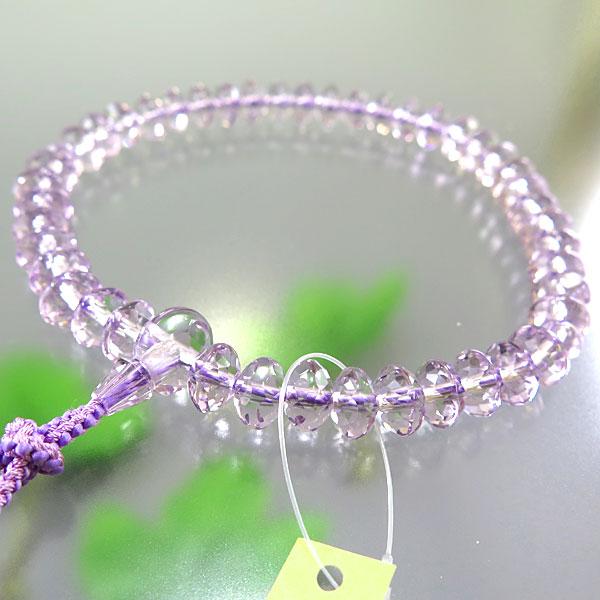 女性用お数珠 ローズアメジスト スターシェイプカット 共仕立て 限定品