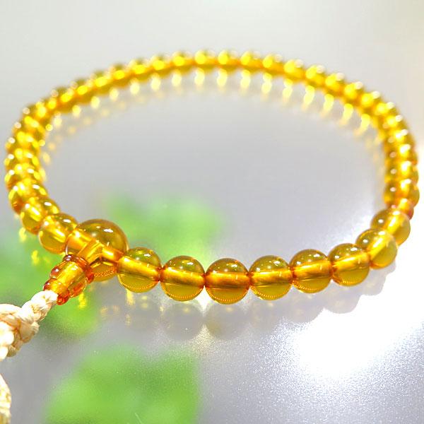 [10%OFFセール開催中] 女性用お数珠 本琥珀 7mm玉 共仕立て クリーム房