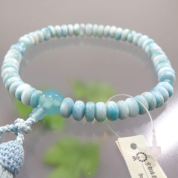 女性用お数珠 ラリマー みかん玉 アクアメノウ仕立て