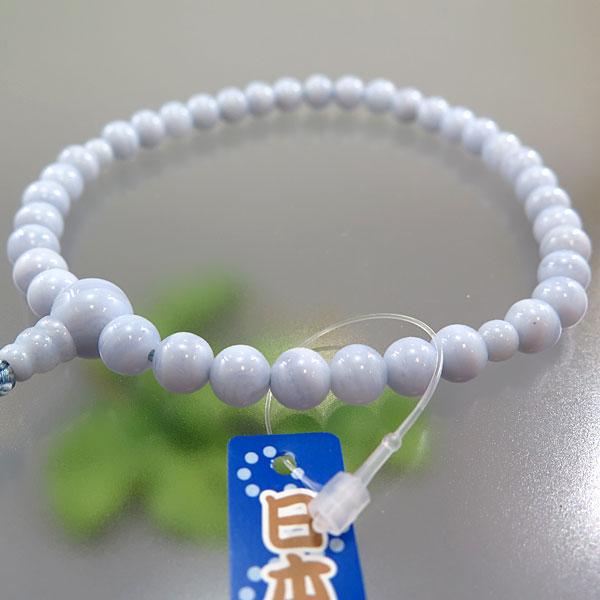 女性用お数珠 カルセドニー 7mm玉 片手共仕立て