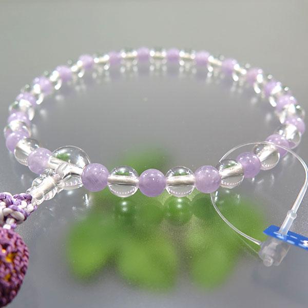女性用お数珠 水晶 7mm玉 紫瑪瑙コンビ仕立て