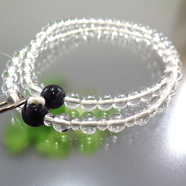 女性用お数珠 水晶 八寸 青虎目石仕立 浄土宗