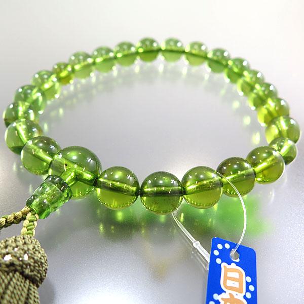 男性用お数珠 グリーン琥珀 22玉 共仕立て 限定品