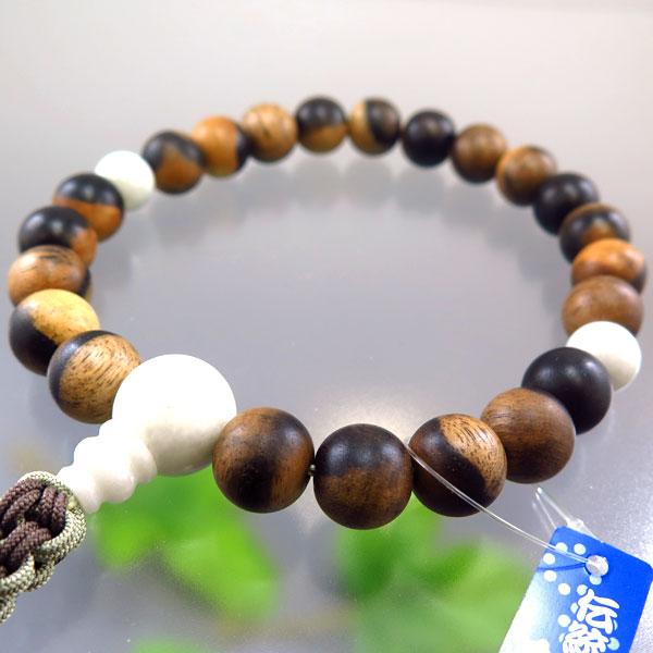 男性用お数珠 黒柿 22玉 糸魚川翡翠仕立て 紐房 限定品