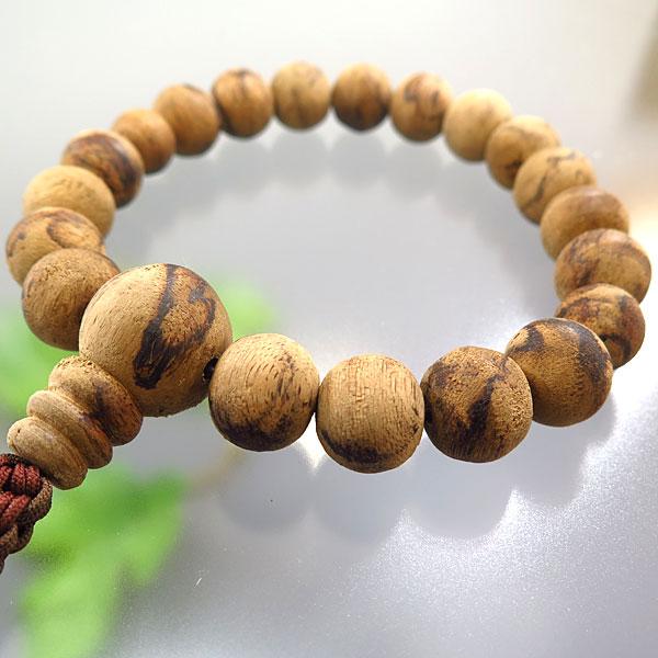 男性用お数珠 インドネシア沈香 18玉 共仕立て 紐房