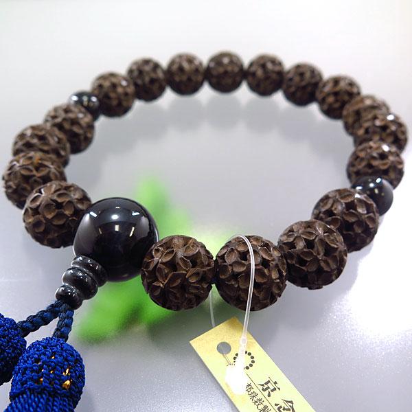 男性用お数珠 柘植 七宝彫り 18玉 青虎目石仕立て