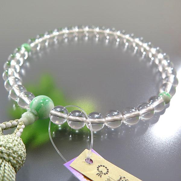 [10%OFFセール開催中] 女性用のお数珠 水晶 8mm玉 ビルマ翡翠仕立て