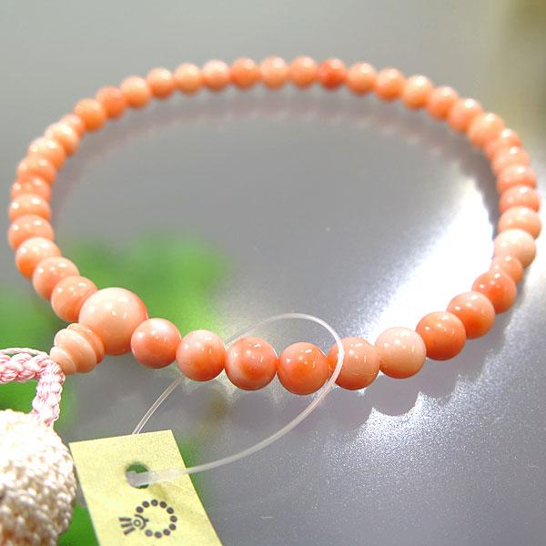 【ポイント10倍&お香プレゼント中】 女性用お数珠 深海珊瑚 6.5mm 共仕立て 薄ピンク房