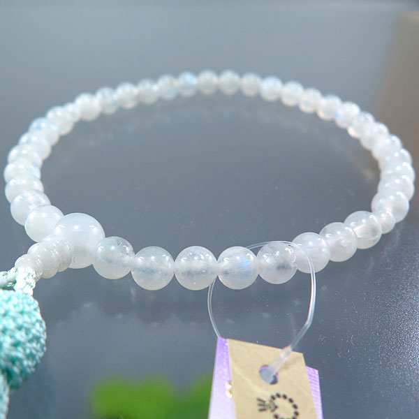 女性用お数珠 ムーンストーン 7mm玉 共仕立て ミント房
