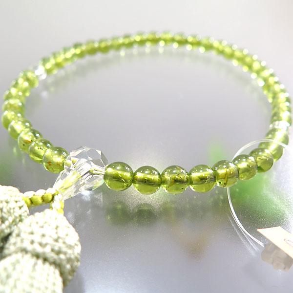 女性用お数珠 ペリドット 6mm玉 水晶切子仕立て 限定品