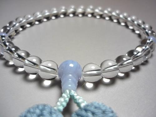 女性用のお数珠 水晶 丸玉 カルセドニー仕立