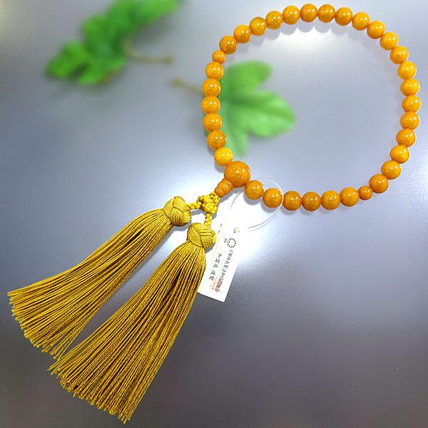 女性用 数珠 老琥珀 8.5mm玉 共仕立て 花かがり房 限定品