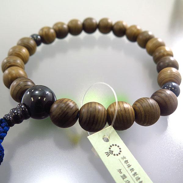 男性用お数珠 神代杉 22玉 青虎目石仕立て