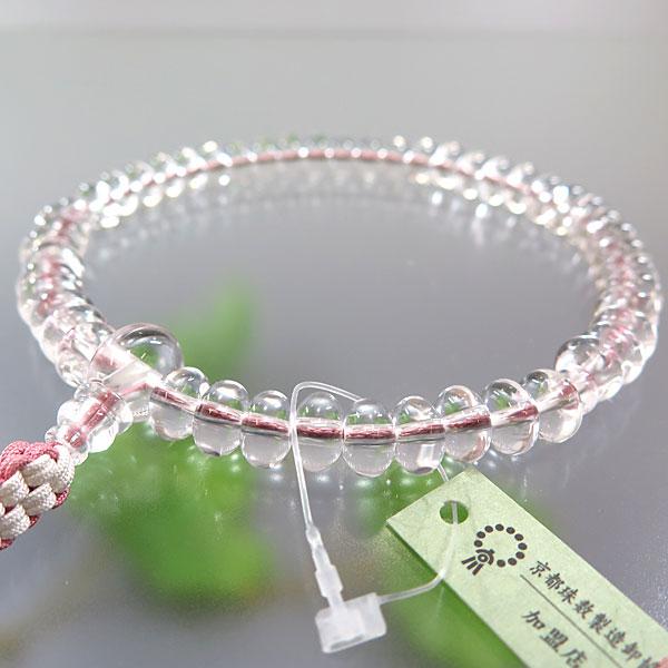 女性用お数珠 水晶 みかん玉 共仕立て 紐房(灰桜)
