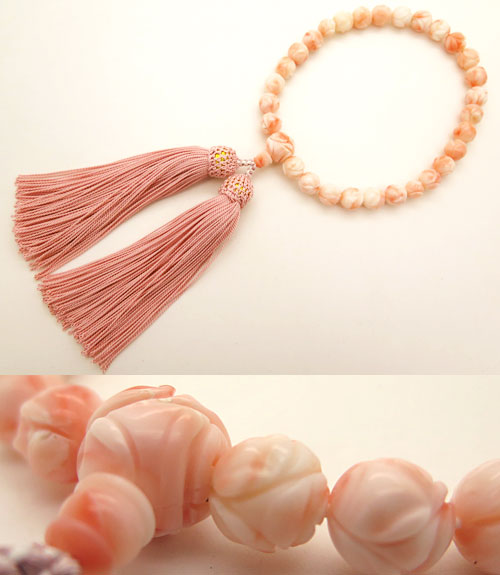 数珠 女性用 深海珊瑚 バラ彫 9mm玉 共仕立て 限定1品