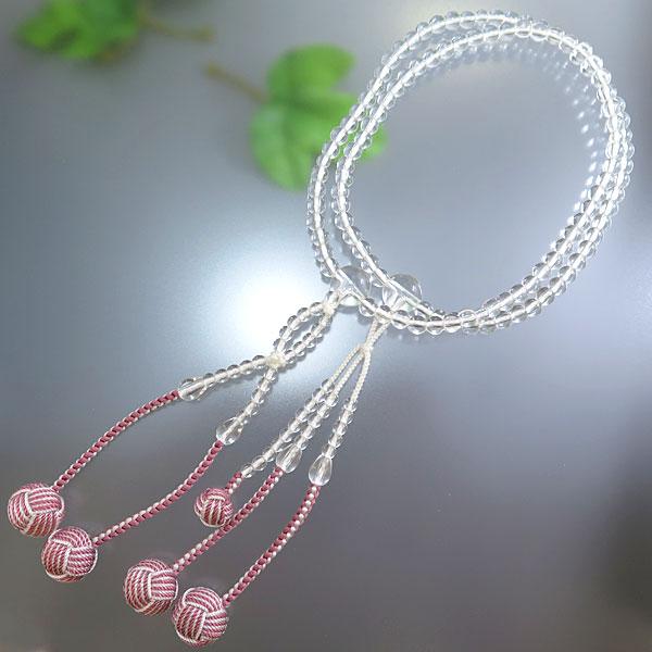 数珠 女性用 日蓮宗 水晶 6mm玉 共仕立て 八寸法華