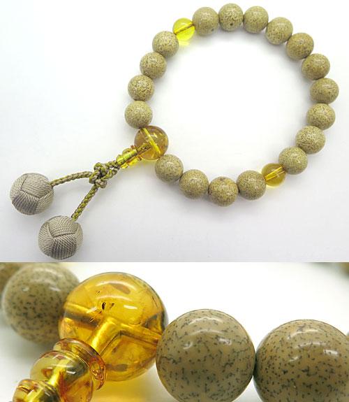 数珠 男性用 星月菩提樹 18玉 天然琥珀仕立て 限定品