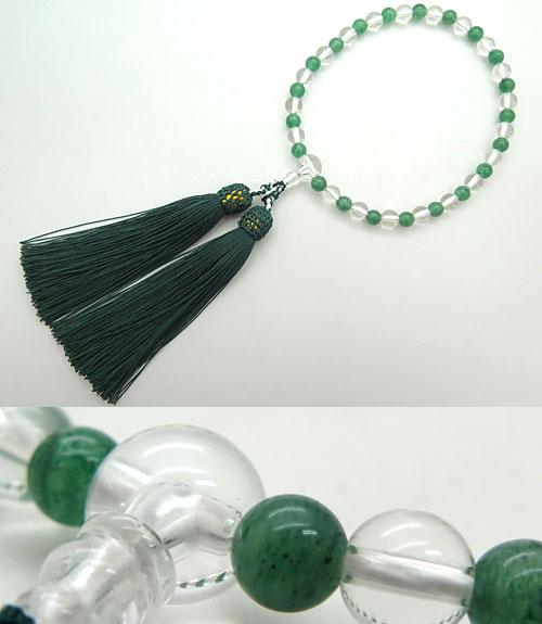 数珠 女性用 水晶 7mm玉 インド翡翠 コンビ仕立て