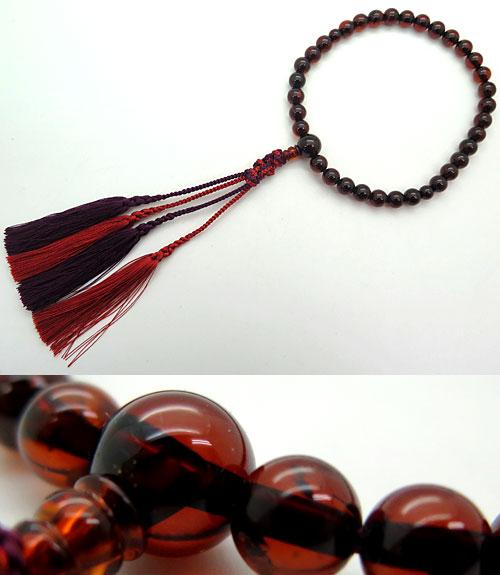 数珠 女性用 撫順琥珀(ぶじゅんこはく) 8mm玉 共仕立て 限定品