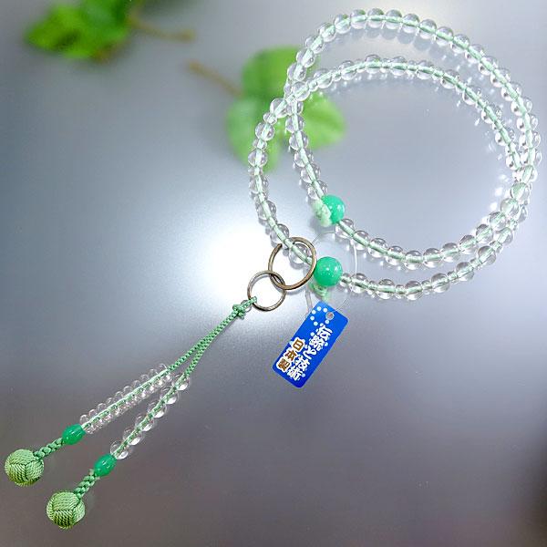 女性用 数珠 水晶 8寸浄土 クリソ瑪瑙仕立て