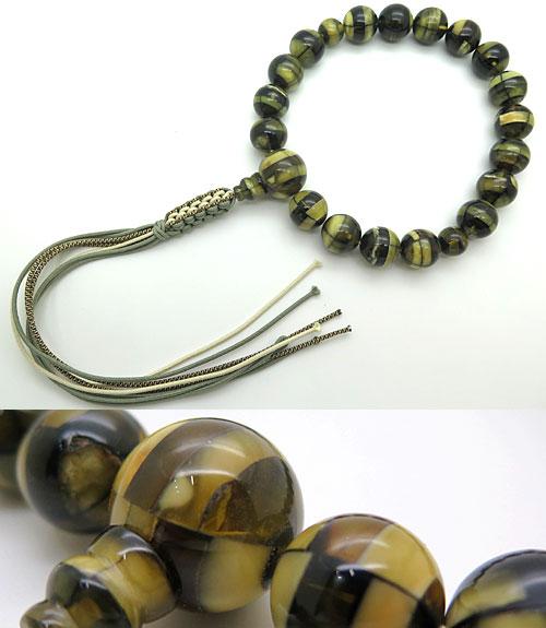 数珠 男性用 圧縮ミックス琥珀 18玉 共仕立て