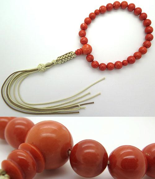 数珠 男性用 高知県産 桃珊瑚 24玉 共仕立て 限定品