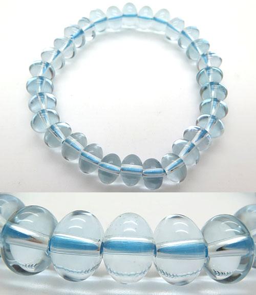 ブルー水晶 みかん玉 ブレス ストレート