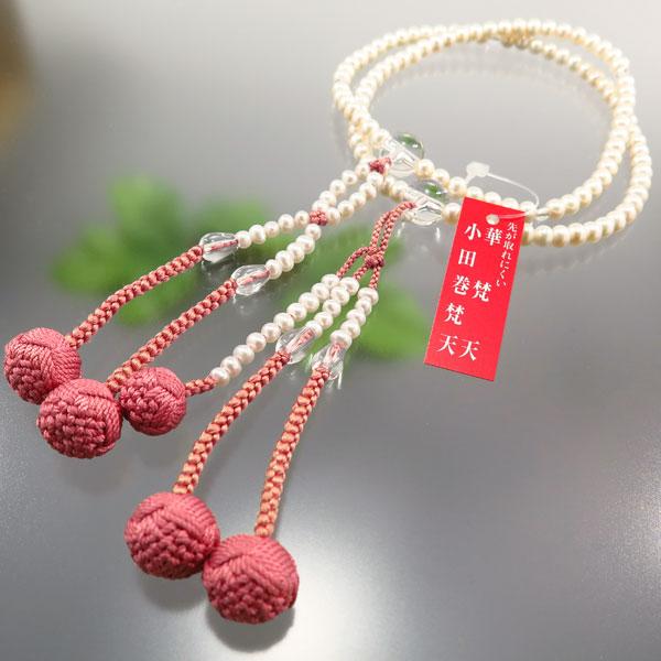 女性用 日蓮宗 数珠 淡水真珠 8寸法華 水晶仕立て