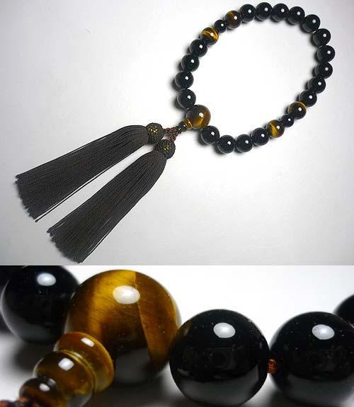 男性用のお数珠 ブラックオニキス 虎目石4点仕立て【定番数珠】【法事、魔除けのお守りに】【念珠袋プレゼント!】