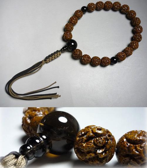 男性用のお数珠 古色星月菩提樹 羅漢彫り