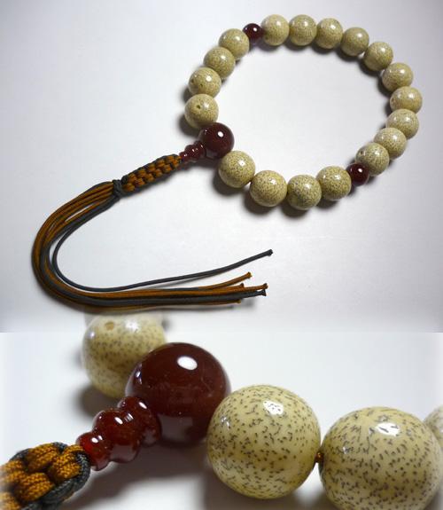 男性用のお数珠 星月菩提樹18玉 瑪瑙仕立て