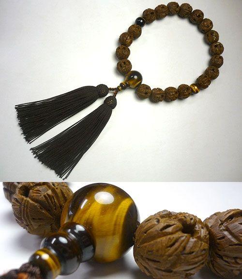 男性用のお数珠 羅漢彫り18玉 虎目石仕立て 焦茶房