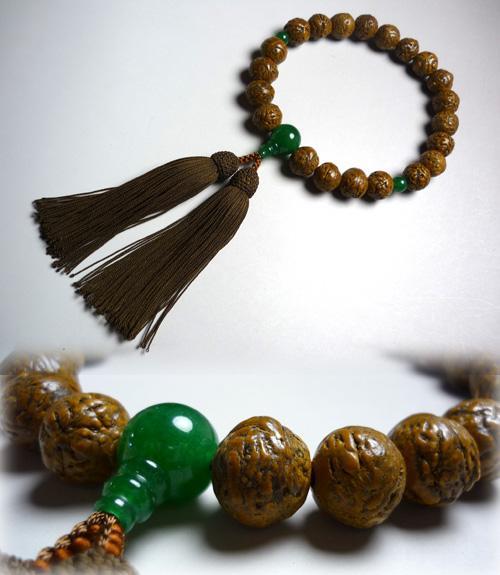 男性用のお数珠 インド龍眼菩提樹 印度翡翠仕立て