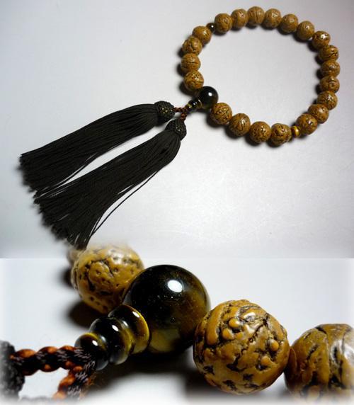 男性用のお数珠 インド龍眼菩提樹 虎目石仕立て