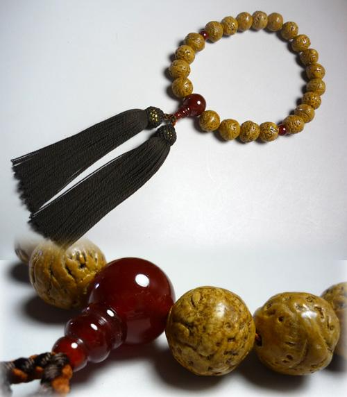 男性用のお数珠 インド龍眼菩提樹 瑪瑙仕立て